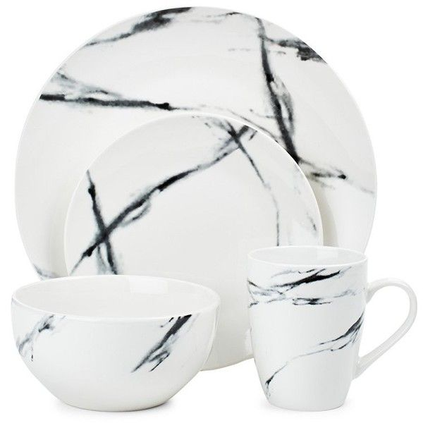 Jay Imports American Atelier Marble Black Coup Sixteen-Piece... ($70) ❤ liked on Polyvore featuring home, kitchen & dining, dinnerware, dinner-ware, black dinnerware, black stoneware, contemporary dinnerware and contemporary dinnerware sets