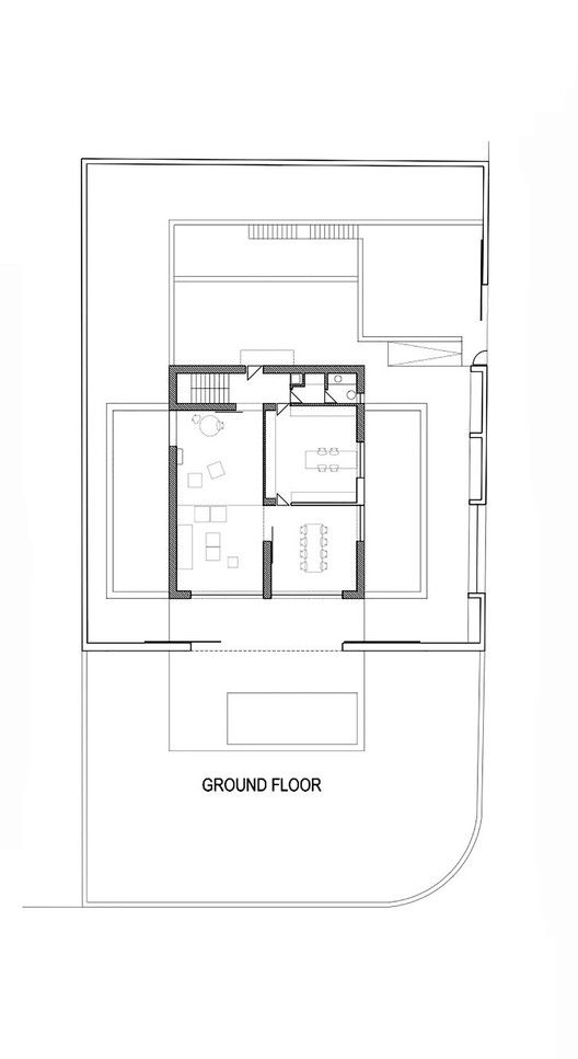 Residência Raumplan,Planta baixa - térreo