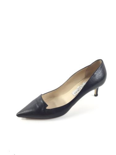 18c1d1fbad0b E34 Jimmy Choo Allure Black Leather Notched Point-Toe Pumps Women s Size 37  M