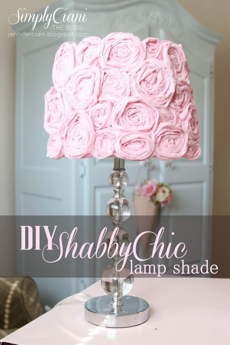 This would be adorable with my  Eiffel Tower lamp :) Thinking black and white roses and maybe one in color   Simply Ciani: DIY Shabby Chic Lampshade