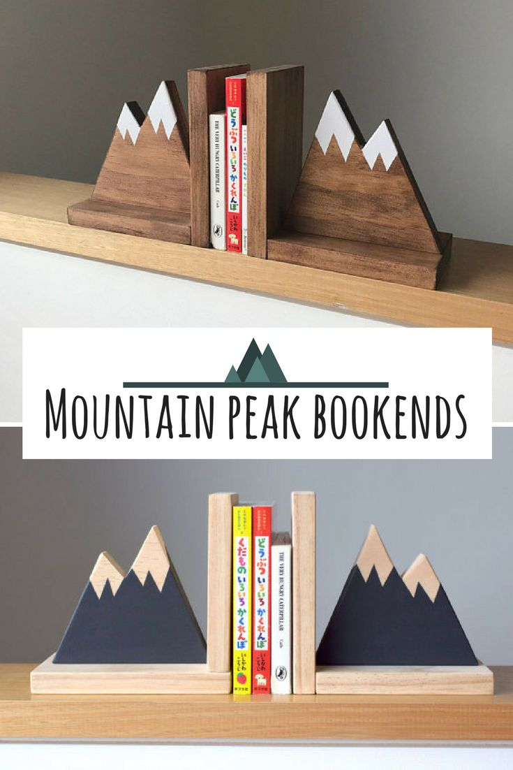 I love these mountain peak bookends. My son would love them. They are simple and perfect. A little scandinavian touch to his room. #commissionlink #mountain #peak #bookends #kidsroomdecor #homedecor #scandinavian #wood