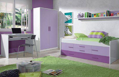 excelente Mobimarket - Dormitorios Juveniles en blanco y lila - DORMITORIOS BARATOS Encuentra más en http://www.cunas-para-bebes.net/tienda/producto/mobimarket-dormitorios-juveniles-en-blanco-y-lila-dormitorios-baratos/