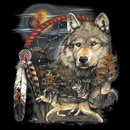 Native American Indian Tribesman Wolves ADULT T Shirt Choose Shirt Color: Black…