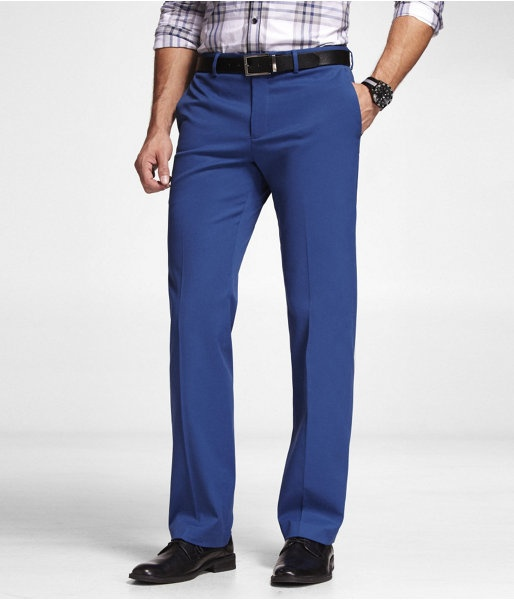 Express Mens Colored Stretch Cotton Producer Dress Pant Atlantis Blue, W31 L32
