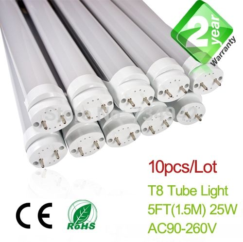 289.50$  Watch now - http://alinkp.worldwells.pw/go.php?t=32213561588 - 10pcs/Lot 5ft T8 LED Fluorescent Tube Light 1500mm 25W 2350LM CE & RoHs 2 Year Warranty SMD2835 Epistar