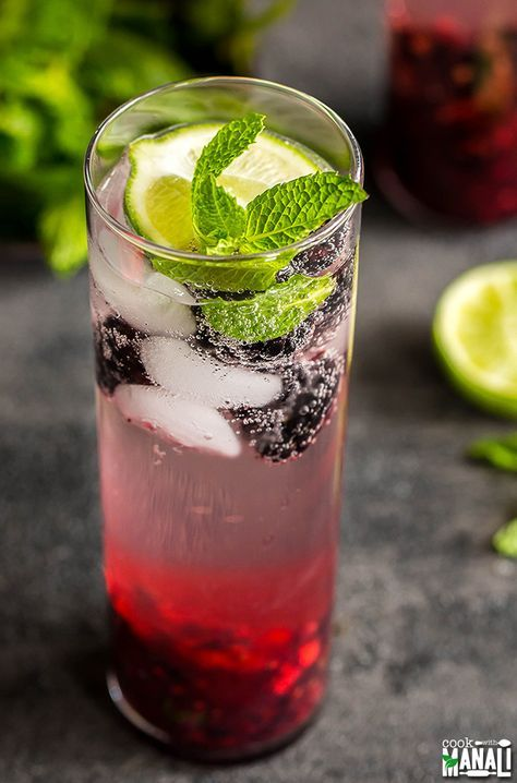 Refreshing Virgin Blackberry Ginger Mojito is the perfect summer drink to enjoy with your family! Find the recipe on www.cookwithmanali.com