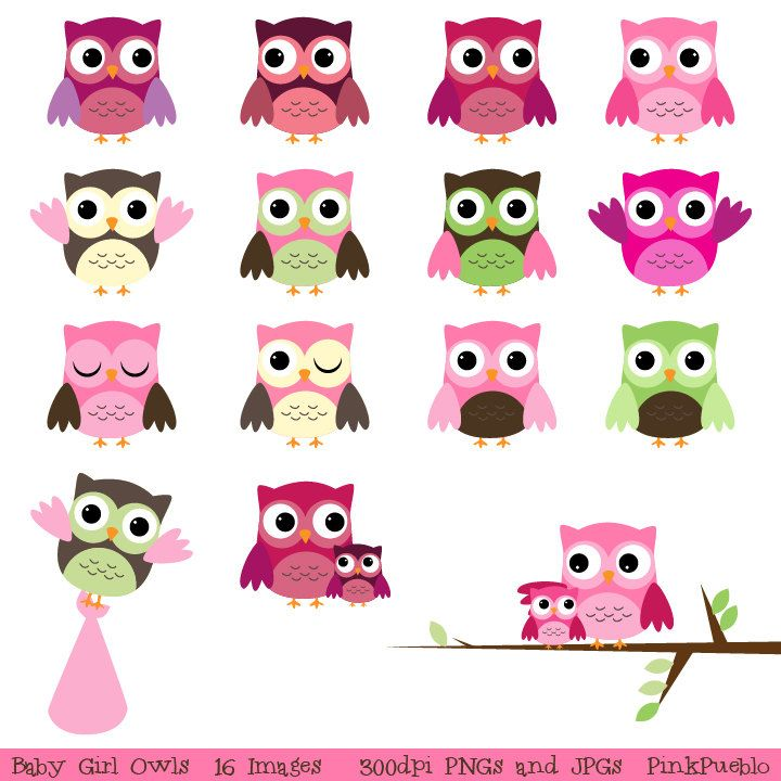 Baby Shower Owl Clipart Clip Art, Girl Baby Clip Art Clipart- Commercial and Personal. $6.00, via Etsy.