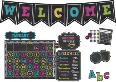 Teacher Created Resources Chalkboard Brights Classroom Theme Set - CLASSROOM DIRECT