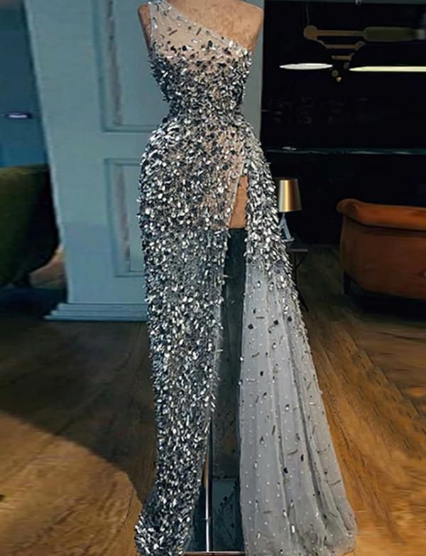One Shoulder Sequins Prom Dresses Long Grey Evening Gowns Sheath with Split 1