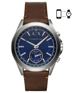 A|X Armani Exchange Men's Connected Brown Leather Strap Hybrid Smart Watch 44mm - Brown