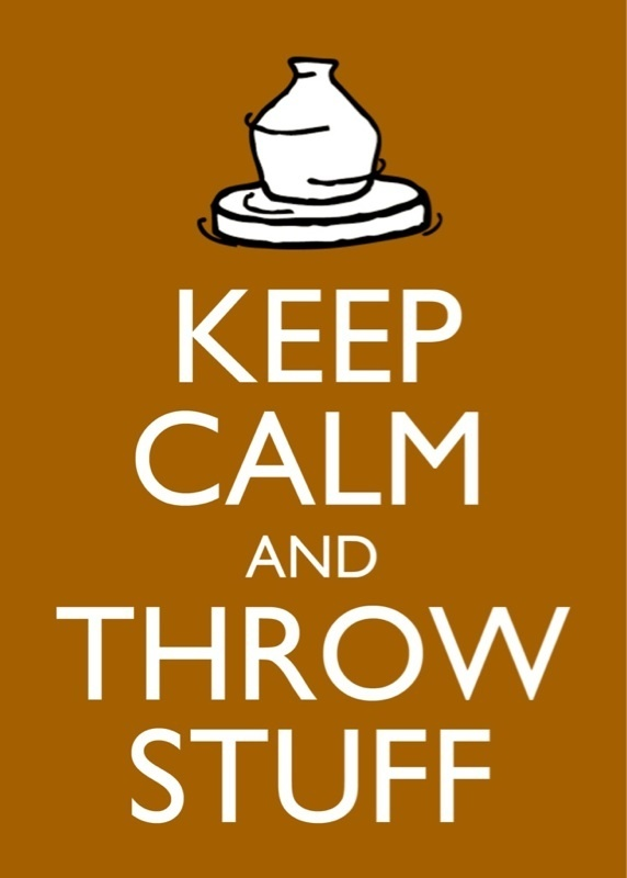 "Keep Calm and Throw Stuff Clay Coloured Potters Poster Print 5""X7"" 
