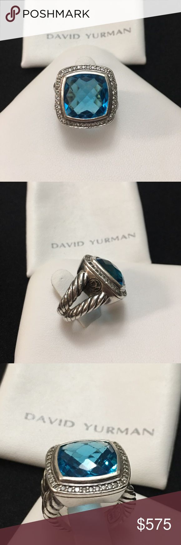 Pre💙 DY Topaz with diamonds ring 💯 authentic David Yurman albion ring set in 925 with approx  0.30 tcw of diamonds. Ring is stamp with DY 925 and the copyright symbol inside the band. Blue stone has some scratches as well as the band due to wear but the ring is still beautiful that people will compliment of. Ring is bold, thick and heavy. Its a size 5 and comes with its original pouch. This ring retails for over $900 in DY site and some is over $1k. David Yurman Jewelry Rings