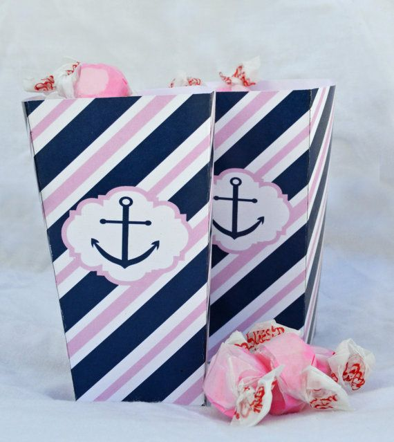 Instant Download Nautical Pink & Navy Favor Box by WhenIWasYourAge, $5.00