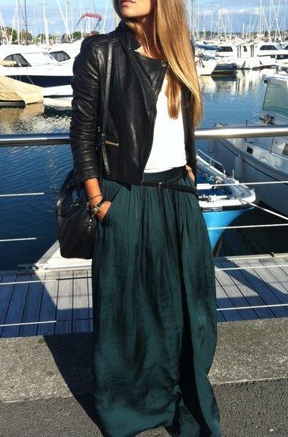 Jewel tone maxi skirts.