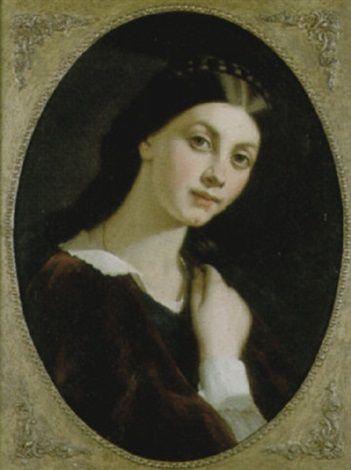"""""""La treccia nera,"""" 1856 -- by Michele Gordigiani (Italian, 1830–1909)"""