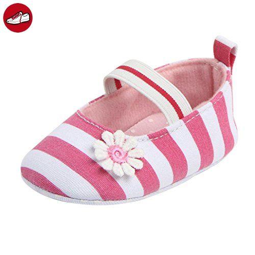 Igemy 1Paar Säugling Streifen Blume Schuhe Soft Sole Kinder Mädchen Baby Anti-Rutsch Baby Schuhe (Size:11, Pink) - Kinder sneaker und lauflernschuhe (*Partner-Link)
