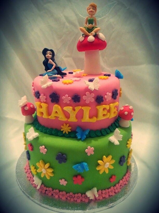 Pretty fairy cake for 3year old Haylee.  Fondant covered 5 layers of chocolate cake.