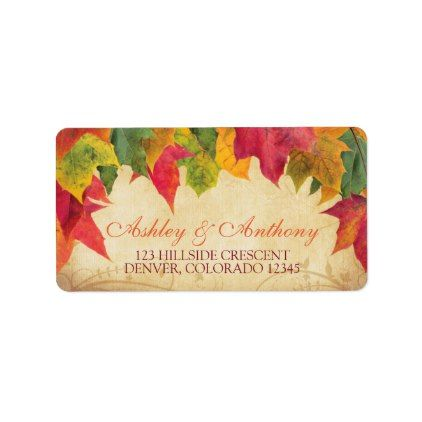 Maple Leaves Fall Autumn Wedding Return Address Label - autumn wedding diy marriage party personlize idea