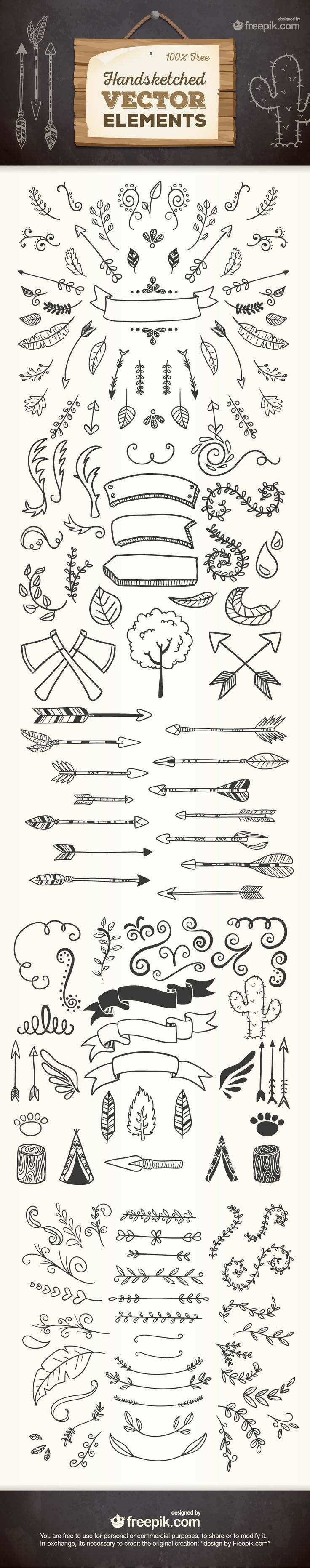 Free Hand sketched vector elements