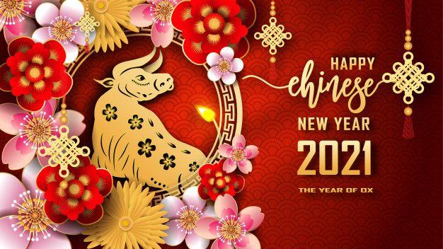 Pozdravleniya S Novym 2021 Godom S Godom Metallicheskogo Byka Happy Chinese New Year Chinese New Year Card Chinese New Year