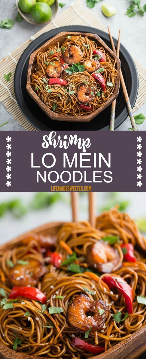 Shrimp Lo Mein makes the perfect easy weeknight meal! Best of all, takes less than 30 minutes to make in just one pot! Skip the takeout, this is so much better!