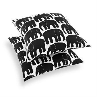 Elefantti cushion cover - black-white - Finlayson