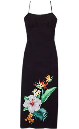 Long Hula Tropic Hawaiian Dress