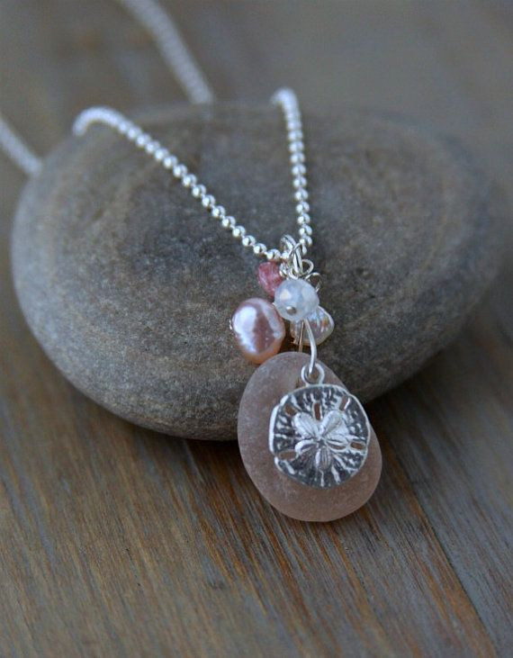 Sea Glass Jewelry Rare Pink Sea Glass Necklace by MermaidCharms, $48.00