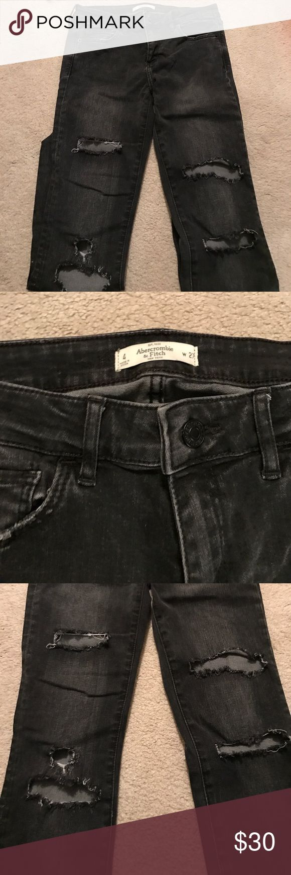 Abercrombie and Fitch jeans Dark grey. Distressed. Only wore once! Jean legging fit Abercrombie & Fitch Jeans Skinny