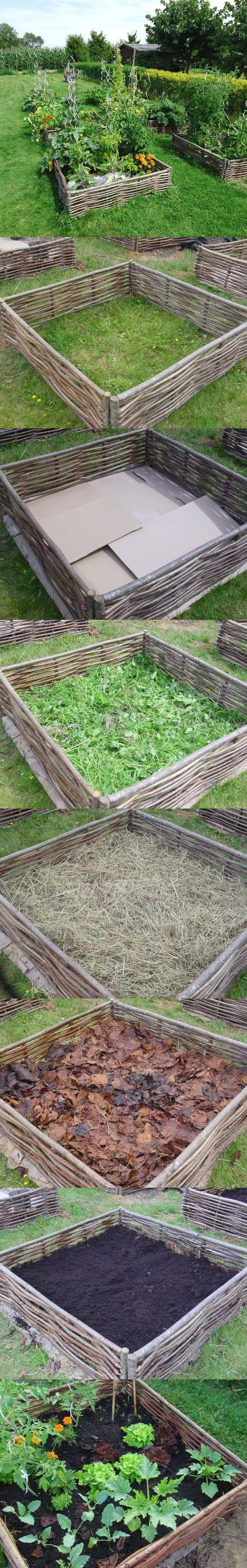 Lasagna Bed gardening - creates a great weed barrier and natural materials that will compost over time to create nutrients for the plants - love the wattle fencing.