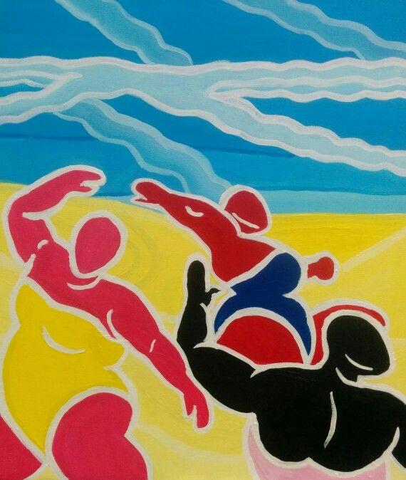 "Dancing Ladies. Acrylic. 12 x 14"". Nicole J. Horel."