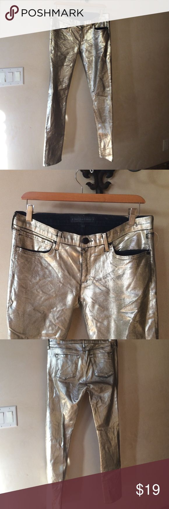 Juicy Couture Gold jeans size 30 Juicy Couture Gold jeans size 30. 77% cotton 21% polyester and 2% elastane. Measures 41 1/2 inches in length and the inseam is about   31 inches. Juicy Couture Jeans Skinny