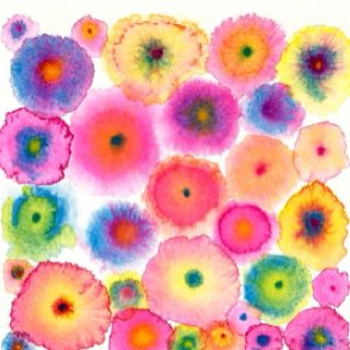 Pink Large Abstract Print Canvas - Circles - Flowers - Colorful - Blooms 2 Pink…