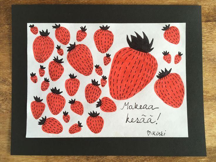 Kesä, kortti, hauskaa kesää, summer, card, diy, have a nice summer, 2017, mansikka, strawberry, makeaa kesää