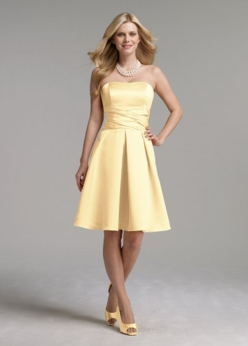 Strapless yellow bridesmaid dresses