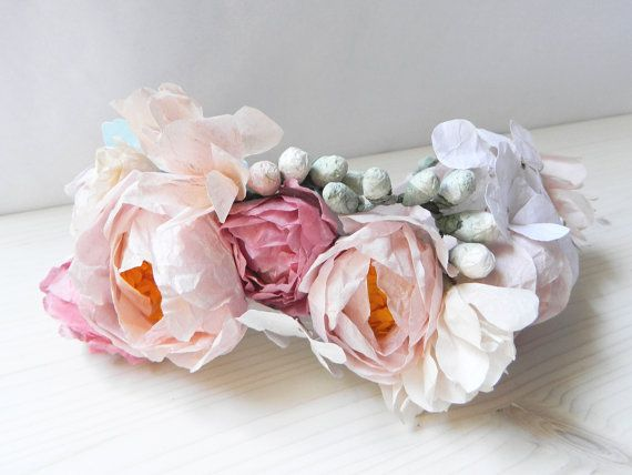 Flower crown with pink and white paper flowers paper flower