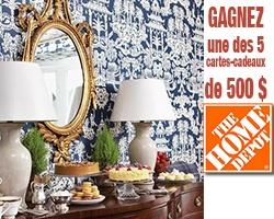 5 cartes-cadeaux Home Depot de 500 $. Fin le 25 janvier.   http://rienquedugratuit.ca/concours/home-depot-cartes-cadeaux/