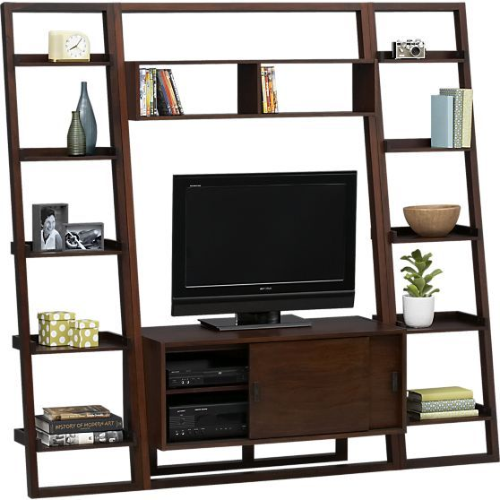 Sloane java leaning media stand with two 18 for Media center with bookshelves