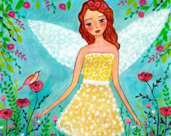Madera arte bloque de los niños - guardería pared hadas arte pintura - impresión del arte de la pintura de Angel - hada ilustración - lámina