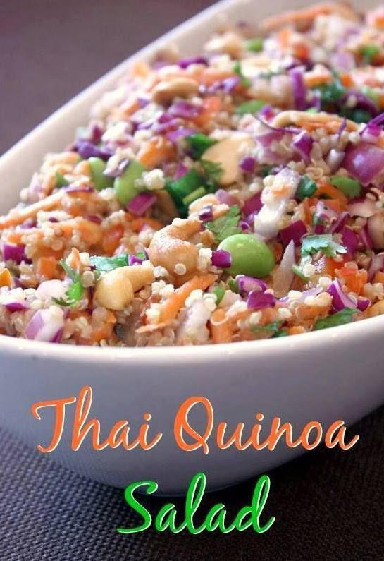 ¾ cup uncooked quinoa 1 heaping cup shredded red cabbage 1 red bell pepper, diced ½ red onion, diced 1 cup shredded carrots 1 cup edamame  ½ cup cashew halves (or roasted peanuts) ½ cup chopped cilantro ¼ cup diced green onions For the dressing: ¼ cup peanut butter (crunchy or smooth) 2 tsp freshly grated ginger 3 Tbsp soy sauce 1 Tbsp honey 1 Tbsp red wine vinegar 1 tsp sesame oil 1 tsp olive oil 1 tsp sriracha hot sauce Water to thin, if necessary