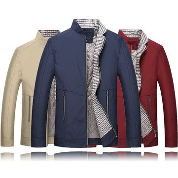 [ $56.91 ] Mens Thick Stand Color Solid Color Jacket Slim Fit Casual Fashion Winter Business Coat