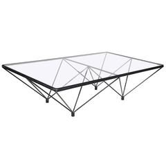 "20th Century Black Steel and Glass Coffee Table, ""Paolo Piva,"" ""Alanda"""