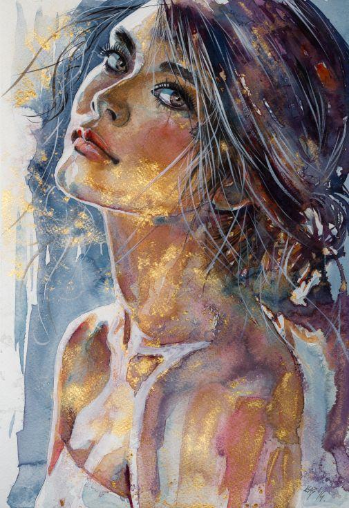 ARTFINDER: Girl in gold by Kovács Anna Brigitta - Original watercolour painting…