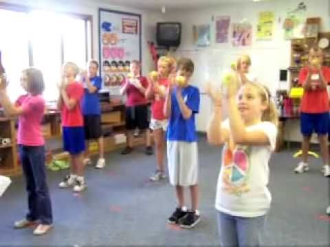 My 3-5's did this with tennis balls and K-2 with scarves. Whole notes with scarves were a full circle with one arm going overhead, and half notes were passing around the body. Quarter notes we passed the scarf from hand-to-hand in front, and for Eighths we waved the scarf up and down. Great activity!