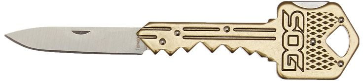 SOG Specialty Knives & Tools KEY102-CP Key Knife with Straight Edge Folding 1.5-Inch Stainless Steel Drop Point Blade, Brass