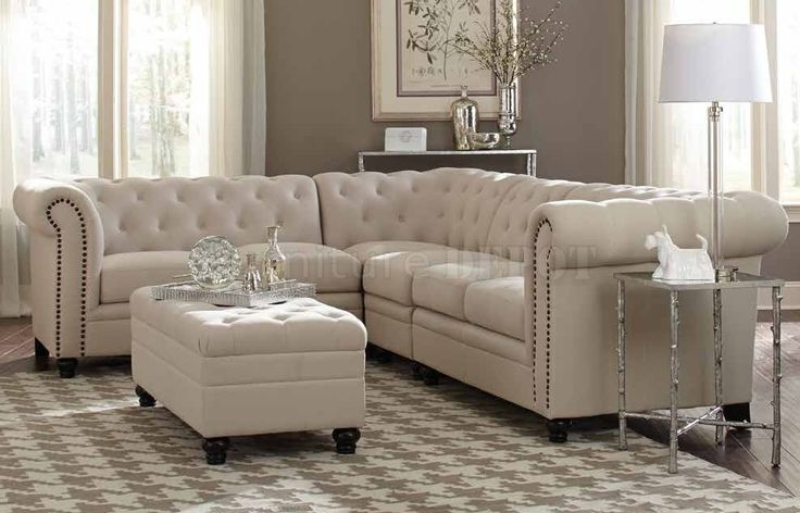 Roy 500222 Sectional Sofa Oatmeal Linen Blend Fabric By