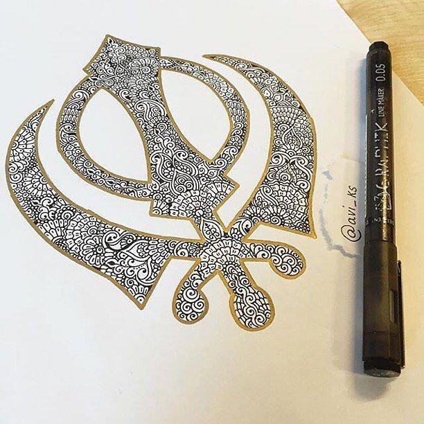 wow check out this beautiful Sikh #khanda design by @avi_ks