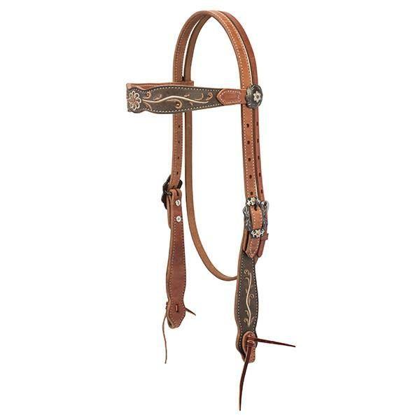 "Pr Antiqued Copper Engraved Belt Buckle 3//4/"" Horse Headstall Tack Weaver Leather"