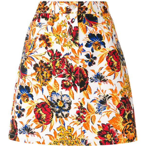 MSGM floral print denim skirt (2,360 GTQ) ❤ liked on Polyvore featuring skirts, bottoms, multicolour, high waisted skirts, short a line skirt, high-waist skirt, high waisted floral skirt and high waisted short skirts