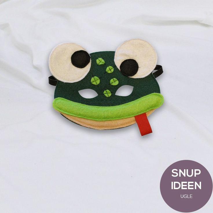Fastelavnskostume. Hjemmelavet frø maske. Gratis mønster. let DIY maske i filt.
